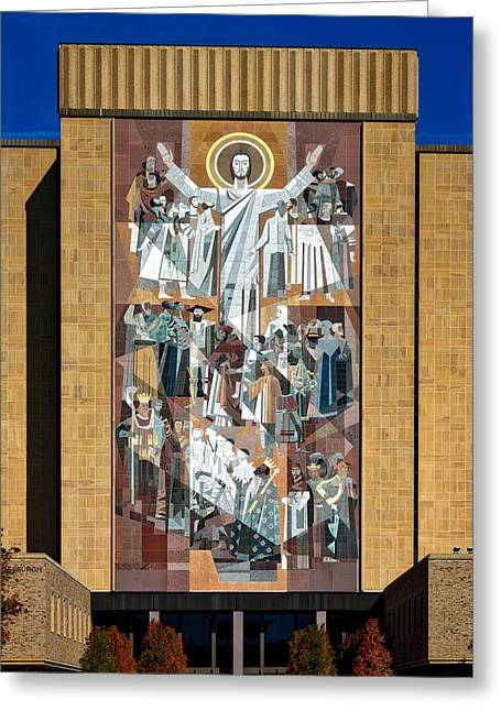 Touchdown Jesus - Hesburgh Library Greeting Card by Mountain Dreams