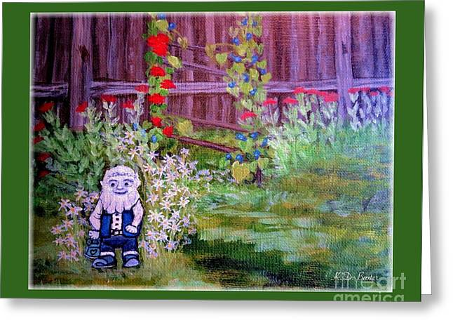 Touched By A Gnome In Grandma's Secret Garden Greeting Card by Kimberlee Baxter