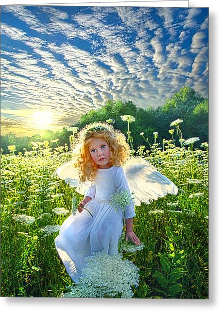 Touched By An Angel Greeting Card by Phil Koch