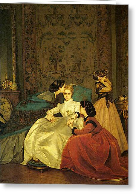 Toulmouche Auguste The Reluctant Bride Greeting Card by Auguste Toulmouche