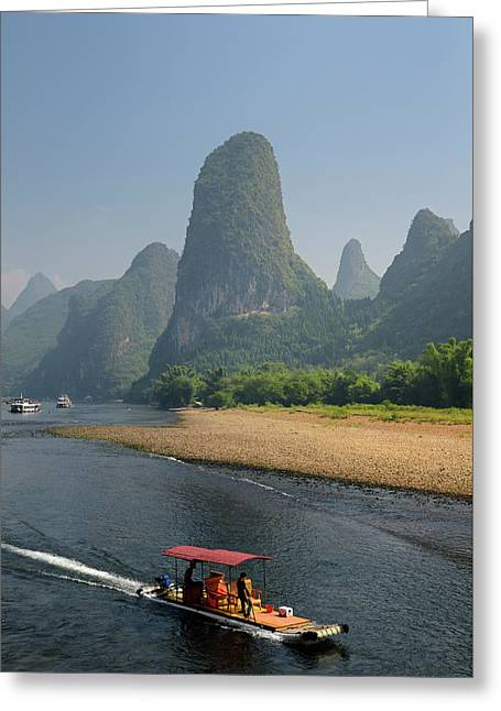 Tour Boat Raft Traveling Down The Li River Guangxi China With Ta Greeting Card