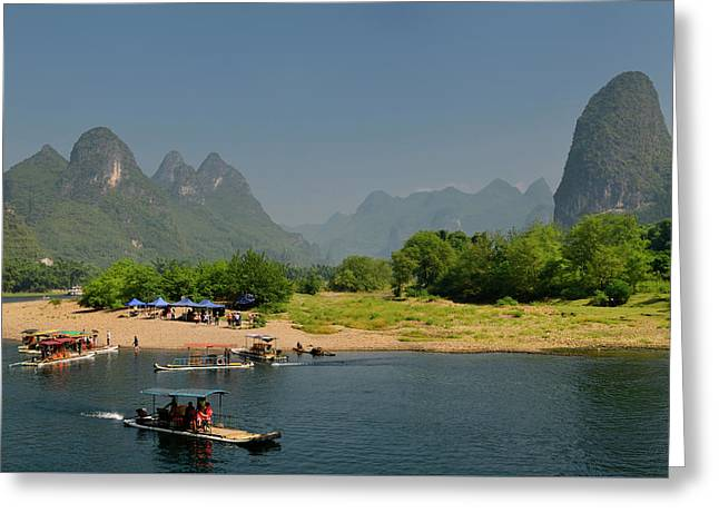 Tour Boat Rafts At Rest Stop On The Li River Guangxi China With  Greeting Card