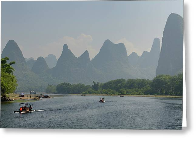 Tour Boat Rafts On The Li River Guangxi China With Fingerlike Ka Greeting Card