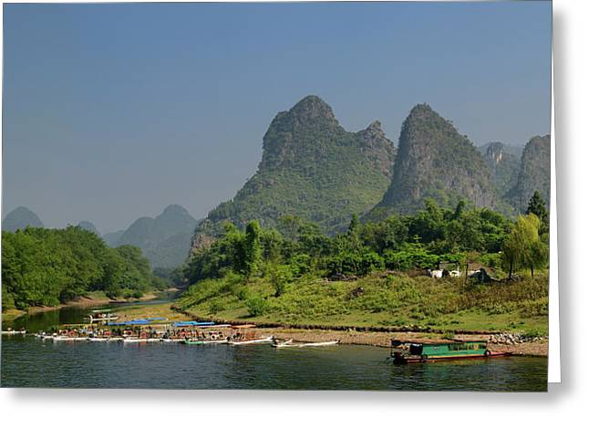 Tour Boat Rafts On The Shore Of The Li River Guangxi China With  Greeting Card