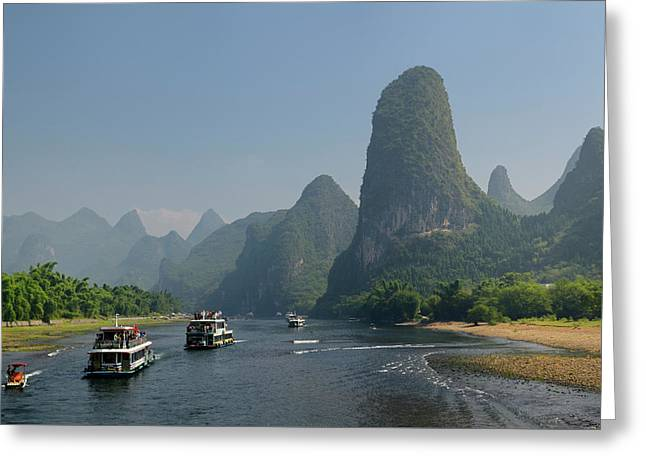 Tour Boats Traveling Down The Li River Guangxi China With Tall K Greeting Card