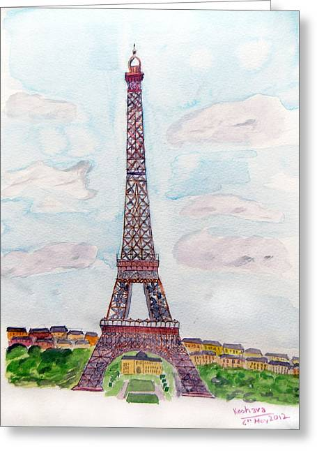 Tour Eiffel Greeting Card by Keshava Shukla