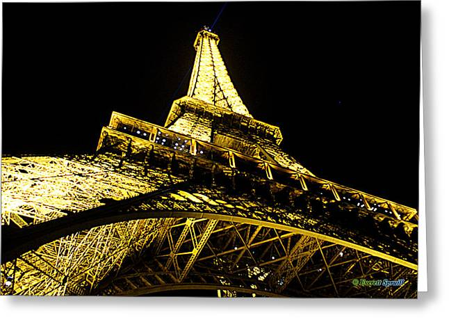 Tour Eiffel - La Nuit Par Le Bas Greeting Card