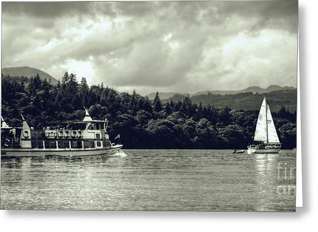 Touring The Lakes In Sepia Greeting Card