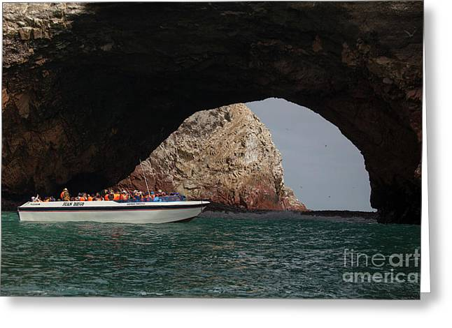 Tourist Boat At The Islas Ballestas Greeting Card by Patricia Hofmeester