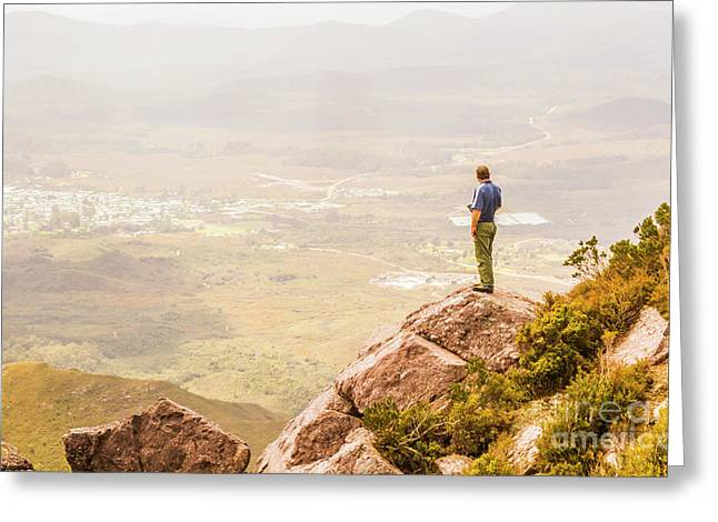 Tourist On The Tip Of Western Tasmania Greeting Card