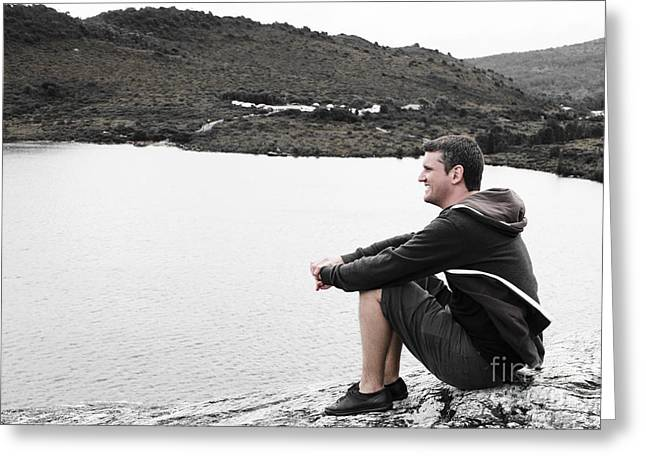 Tourist Seated At Dove Lake Lookout In Tasmania Greeting Card by Jorgo Photography - Wall Art Gallery