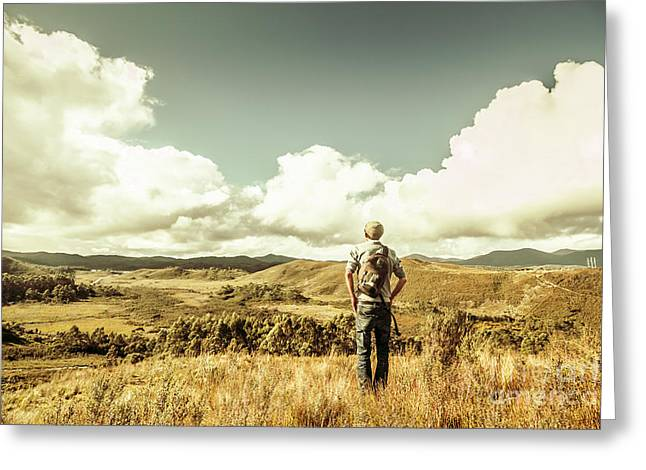 Tourist With Backpack Looking Afar On Mountains Greeting Card