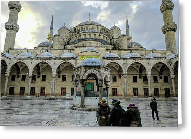 Tourists And The Blue Mosque Greeting Card