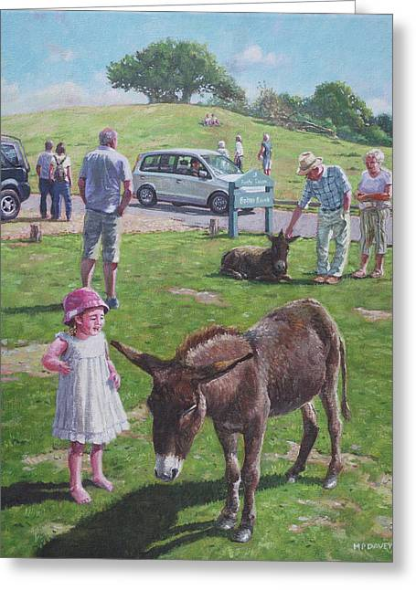Greeting Card featuring the painting Tourists At Boltons Bench New Forest  by Martin Davey