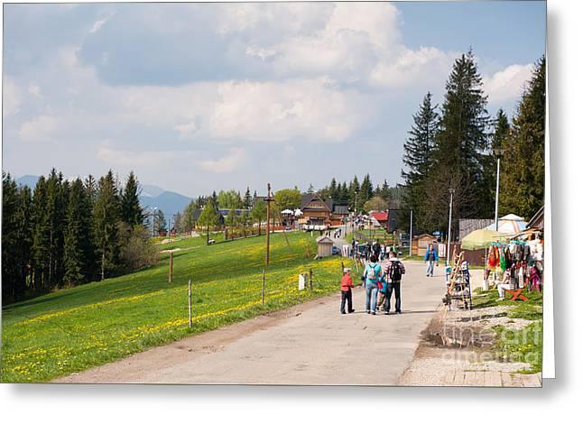 Tourists Groups Walking In Gubalowka Greeting Card by Arletta Cwalina