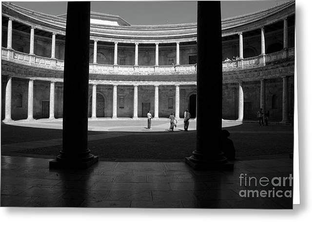 Tourists Inside A Courtyard At The Palace Of Charles V At Alhambra Greeting Card by Sami Sarkis
