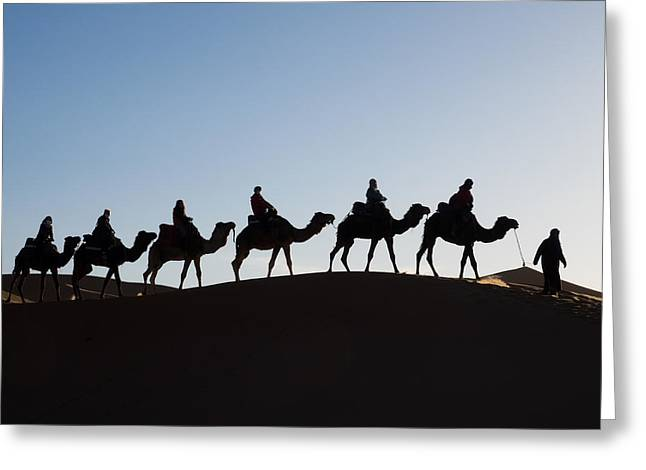 Tourists On Camels Along Top Of Erg Greeting Card by Panoramic Images