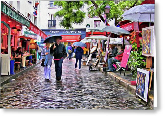 Tourists - Paris - Place Du Tertre Greeting Card by Nikolyn McDonald