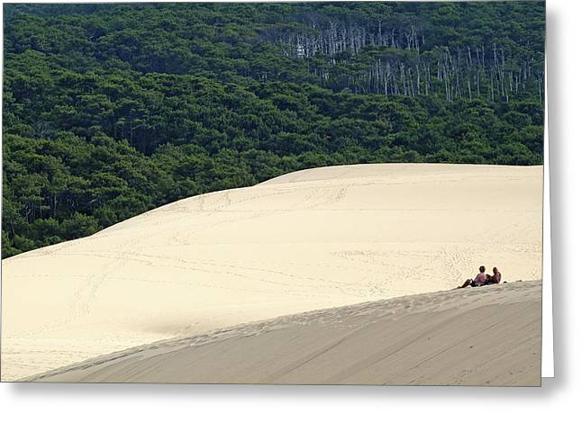 Great Dunes Greeting Cards - Tourists sitting over the Great Dune of Pyla with the Landes forest visible in the background Greeting Card by Sami Sarkis