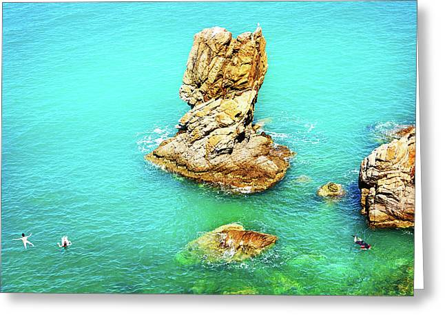 Tourists Snorkeling And Swimming In Cefalu Italy Greeting Card