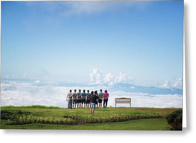 Tourlist In Kew Mae Pan, Doi Inthanon Greeting Card by Anek Suwannaphoom
