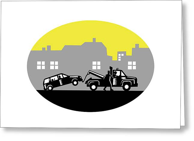 Tow Truck Towing Car Buildings Oval Woodcut Greeting Card by Aloysius Patrimonio