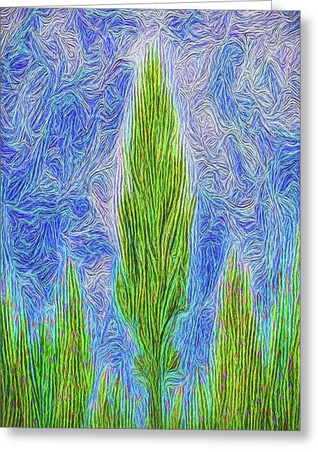 Towards Celestial Realms - Flora Abstract Greeting Card by Joel Bruce Wallach