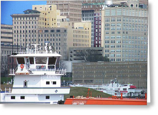 Towboat Robt G Stone At Memphis Tn Greeting Card