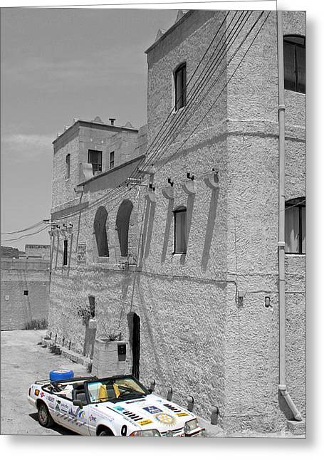 Tower And Car Greeting Card by Sascha Meyer
