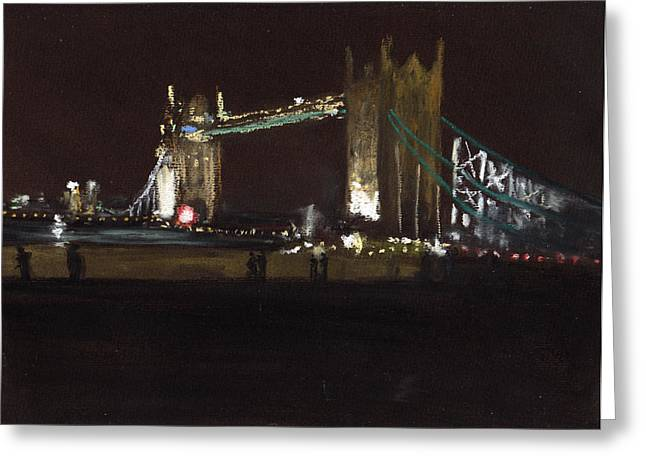 London Pastels Greeting Cards - Tower Bridge At Night  Greeting Card by Paul Mitchell