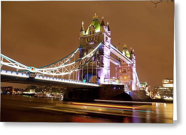 Tower Bridge Evening Greeting Card by Rae Tucker
