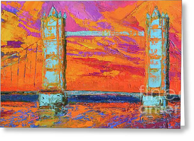 Greeting Card featuring the painting Tower Bridge Colorful Painting, Under Vibrant Sunset by Patricia Awapara