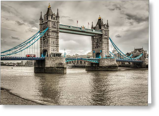 Tower Bridge In London In Selective Color Greeting Card by James Udall