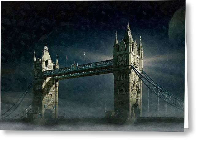 Tower Bridge In Moonlight Greeting Card
