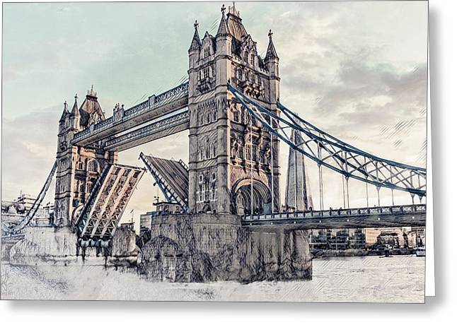 Greeting Card featuring the digital art Tower Bridge by Pennie  McCracken