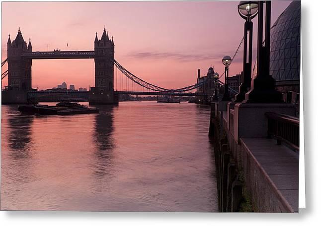 City Hall Greeting Cards - Tower Bridge Sunrise Greeting Card by Donald Davis