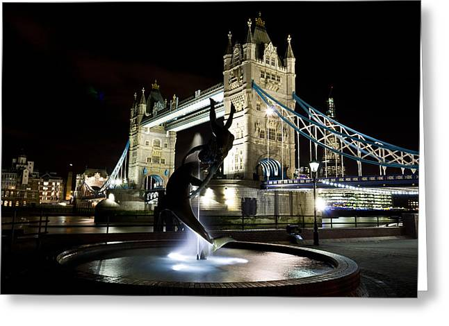 Night Lamp Greeting Cards - Tower Bridge With Girl and Dolphin Statue Greeting Card by David Pyatt