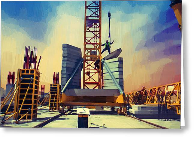 Tower Crane Greeting Card by Afterdarkness