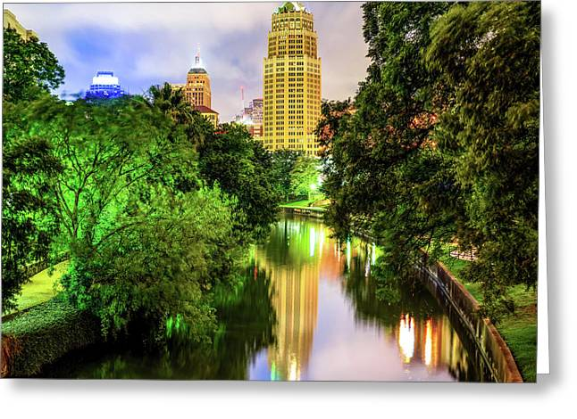 Tower Life Building Reflecting On The Riverwalk - San Antonio Texas Greeting Card