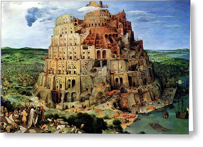 Tower Of Babel Greeting Card by Pieter Bruegel
