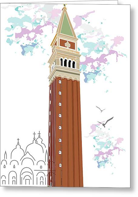Tower Of Campanile In Venice Greeting Card