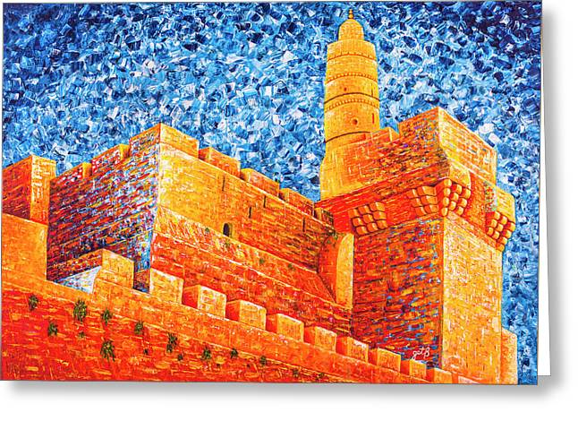 Greeting Card featuring the painting Tower Of David At Night Jerusalem Original Palette Knife Painting by Georgeta Blanaru