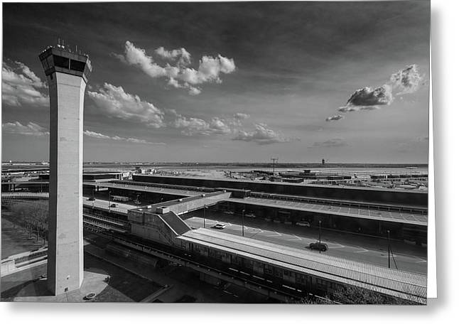 Tower O'hare Airport Greeting Card by Steve Gadomski