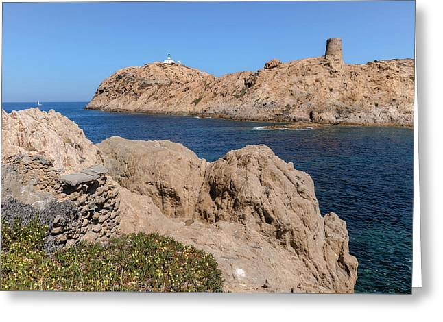 tower on L'Ile Rousse - Corsica Greeting Card