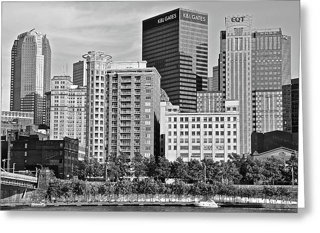 Tower Over Pittsburgh In Black And White Greeting Card by Frozen in Time Fine Art Photography
