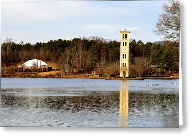 Tower Reflection Greeting Card by Corinne Rhode