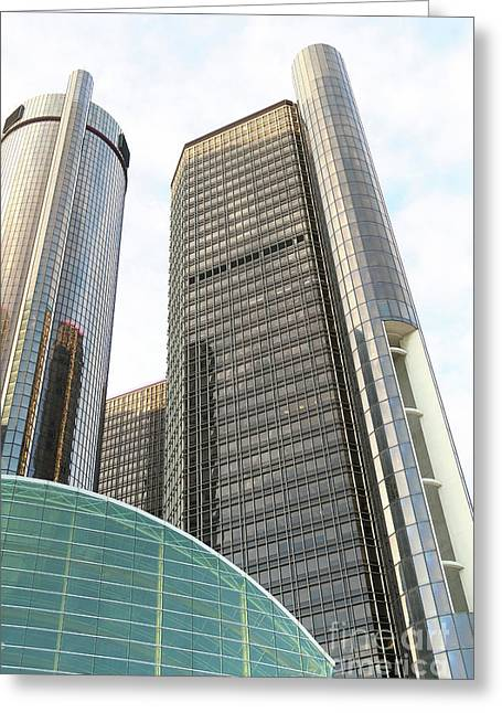 Towering Above Detroit Greeting Card