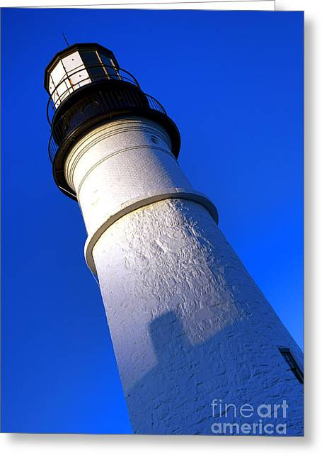 Towering Portland Head Light Greeting Card by Olivier Le Queinec