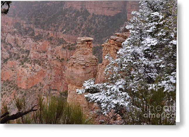 Towers In The Snow Greeting Card by Debby Pueschel