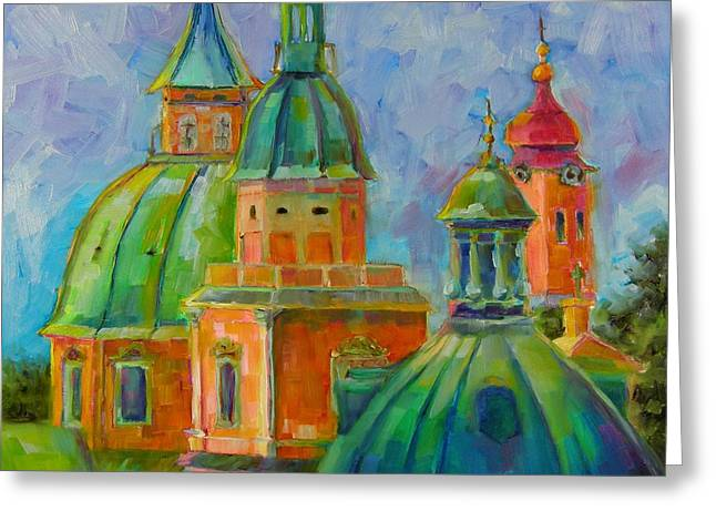Greeting Card featuring the painting Towers Of Salzburg by Chris Brandley